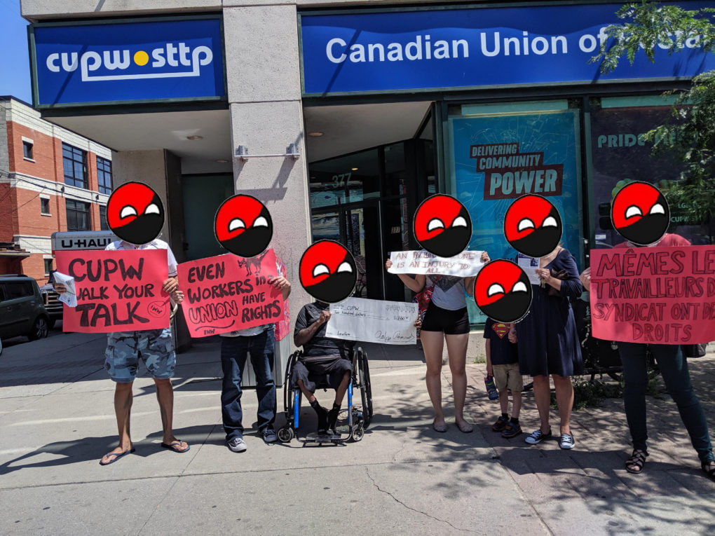 IWW members and supporters in front of CUPW National Office on August 1st, 2019